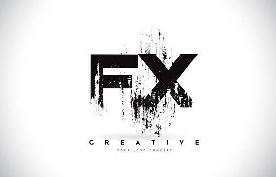 FX F X Grunge Brush Letter Logo Design in Black Colors Vector Illustration.