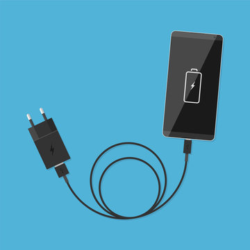 Smartphone and charger, USB cable. Illustration in a flat style