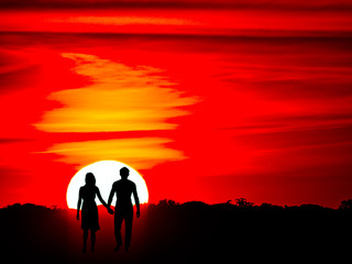 Romantic couple on the sunset with hanging hands