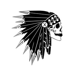 A skull icon wearing American Indian war bonnet, black and white. Vector background