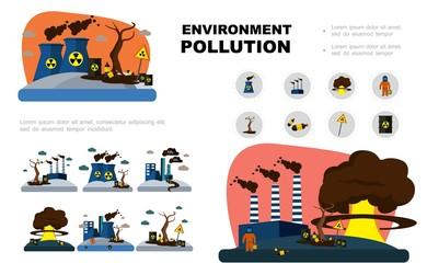 Flat Environment Pollution Elements Set