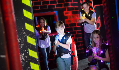 Kids during lasertag game