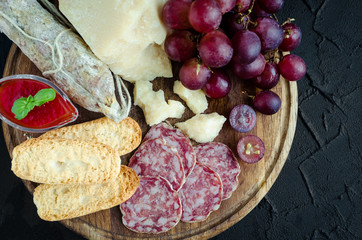 Board with mediterranean appetizers