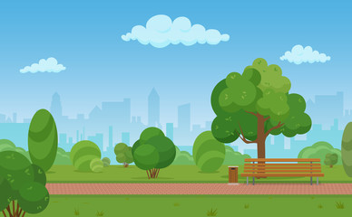 Vector cartoon illustration of a modern empty city park with skyscrapers buildings background.