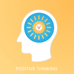 Vector Positive thinking concept. Modern gradient flat style.
