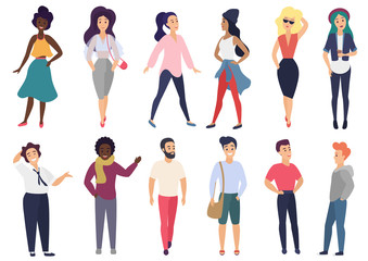 Vector illustration in a flat style of group of different stylized people activities set.
