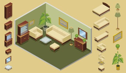 Isometric Hotel Room Creation Concept