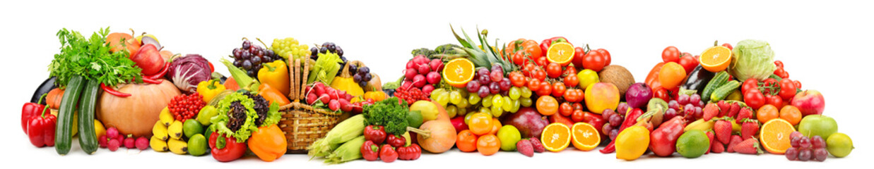 Wall Murals Fruits Large collection fresh fruits and vegetables useful for health isolated on white