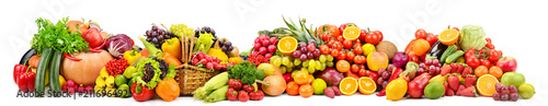 Wall mural Large collection fresh fruits and vegetables useful for health isolated on white
