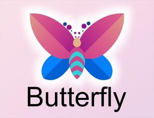 Logotipo mariposa morado azul