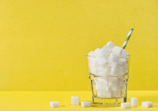 Glass sugar cubes Weight control diet health detox concept