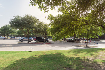 Cars parked under the tree shade at large public parking in Coppell, Texas, USA.
