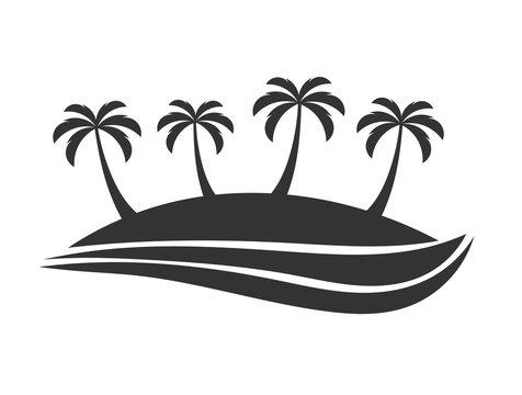 Palm trees island travel symbol