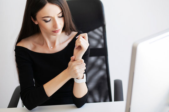 Heart pain. Health healthcare care concep. Closeup on business woman with wrist pain