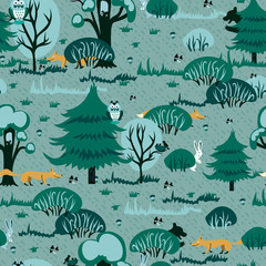A cheerful pattern for children depicting a pine forest with red chanterelles and cute bunnies. seamless vector fabric design.
