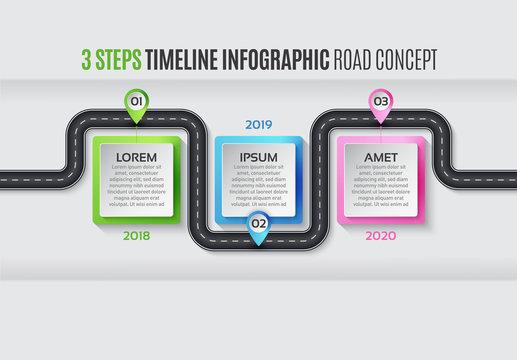 Navigation map infographic 3 steps timeline concept