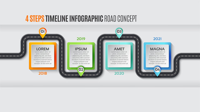Navigation map infographic 4 steps timeline concept