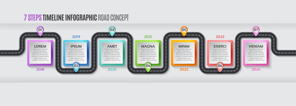 Navigation map infographic 7 steps timeline concept