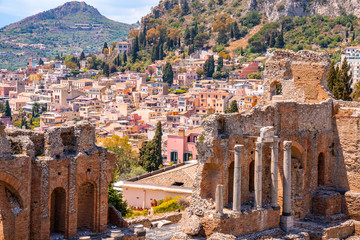 The caldron of the ancient Greek Theater of Taormina in the burning sunshine. Sicily, Italy