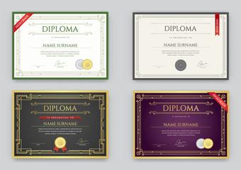 Big Set of Diploma or Certificate Premium Design Template in Vector