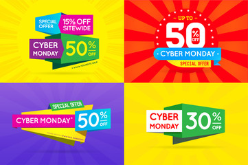 Set of Cyber Monday Sale Signs, Banners, Posters, Cards. Vector.