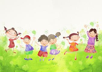 Happy children. Watercolor background