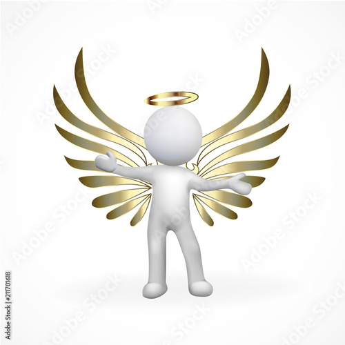 3D Angel man gold wings logo vector image template