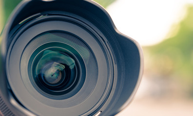 Camera Lens with reflection in the nature