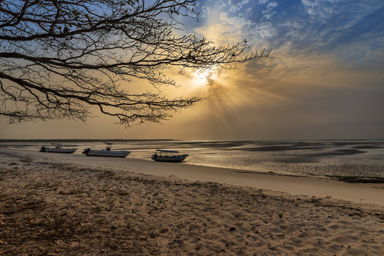 View of a beautiful deserted beach in the island of Orango at sunset, in Guinea Bissau. Orango is part of the Bijagos Archipelago; Concept for travel in Africa and summer vacations