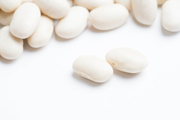 heap of white beans isolated on white