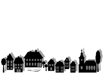Monochrome symbolic city in simple silhouettes with place for text. Vetor and jpg.