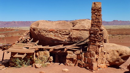 Abandoned settler's rock house near Lee's Ferry in Arizona, USA.