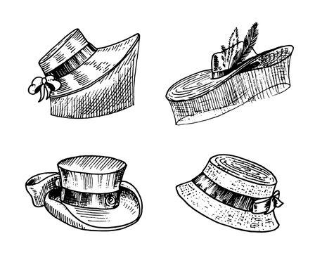 Summer vintage Hats collection for elegant woman, female and ladies. Retro fashion set. Breton Panama, Broad-brim, Slouch Cloche, Poke bonnet. Hand drawn engraved vintage sketch