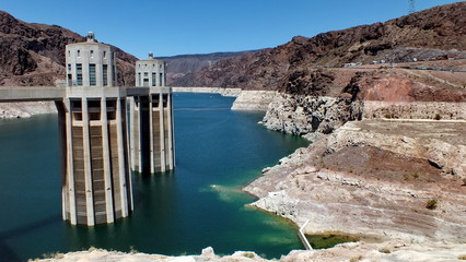 Hoover Dam and penstock towers