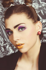 make up and hair style beauty portrait concept girl fashion model beauty editorial