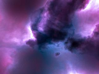 pink, blue and purple nebula space stars sky CG illustration background