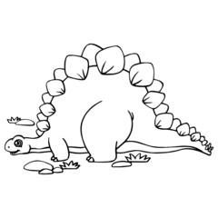 Stegosaurus cartoon illustration isolated on white background for children color book