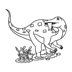 Velociraptor cartoon illustration isolated on white background for children color book