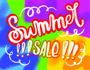 Retro style Summer sale design. Can be used for prints, leaflets, flayers, posters, price tags, emails