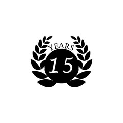 15 years anniversary sign. Element of anniversary sign. Premium quality graphic design icon. Signs and symbols collection icon for websites, web design, mobile app