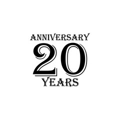20 years anniversary sign. Element of anniversary sign. Premium quality graphic design icon. Signs and symbols collection icon for websites, web design, mobile app