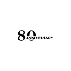 80 anniversary sign. Element of anniversary sign. Premium quality graphic design icon. Signs and symbols collection icon for websites, web design, mobile app