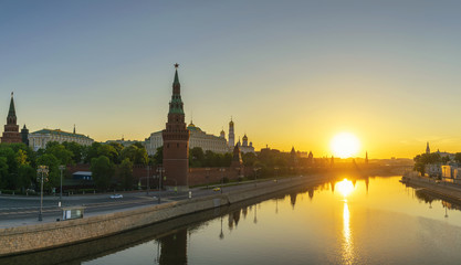 Moscow sunrise panorama city skyline at Kremlin Palace Red Square and Moscow River, Moscow, Russia