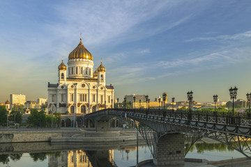 Moscow city skyline at Cathedral of Christ the Saviour and bridge over Moscow River, Moscow, Russia