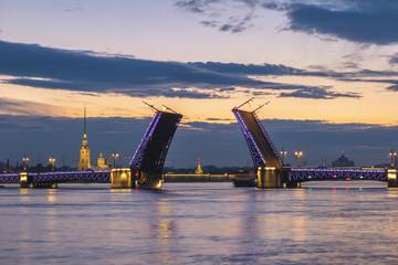 Saint Petersburg sunrise city skyline at Palace Bridge and Peter and Paul Fortress, Saint Petersburg, Russia