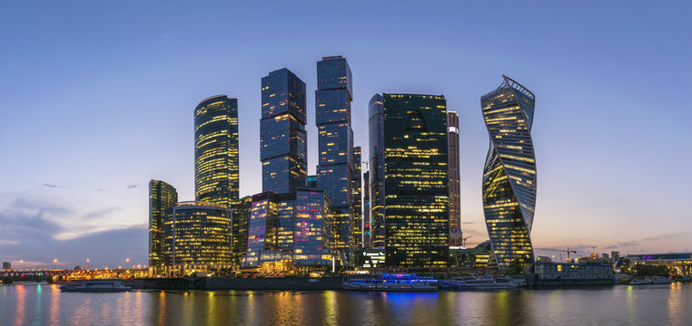Moscow panorama sunset city skyline at business center district and Moscow River, Moscow, Russia