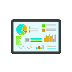 Colored flat icon, vector design with shadow. Tablet with statistical diagrams. Illustration for statistics, economy, business, infographic. Electronic tablet touchscreen