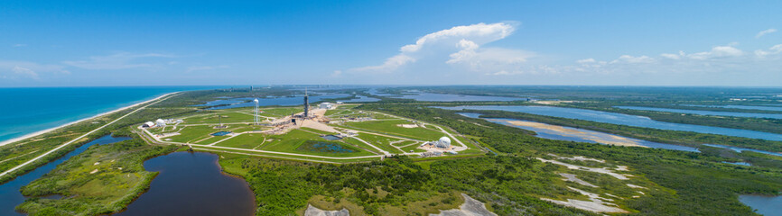 Aerial panorama of a rocket launch facility