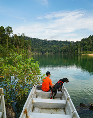 Man and dog spending time outdoor