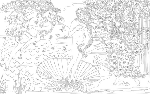 The Birth of Venus (1483-1485) by Sandro Botticelli adult coloring page